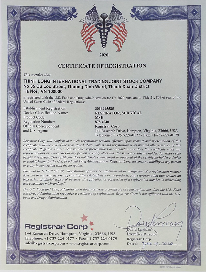 certificate of registrations